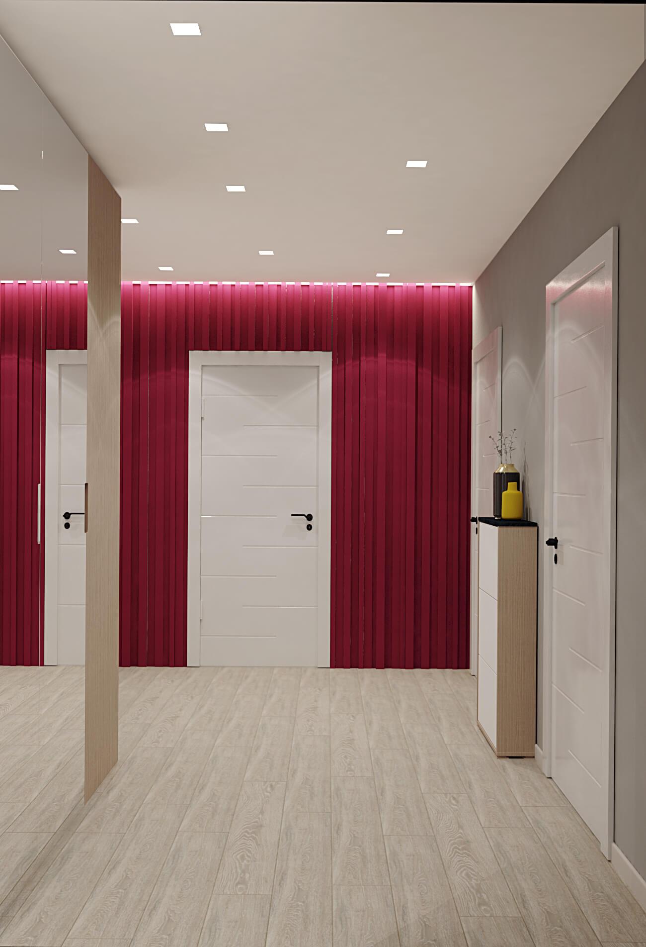Визуализация коридора с винным цветом на Демеевской, Киев, Profirem