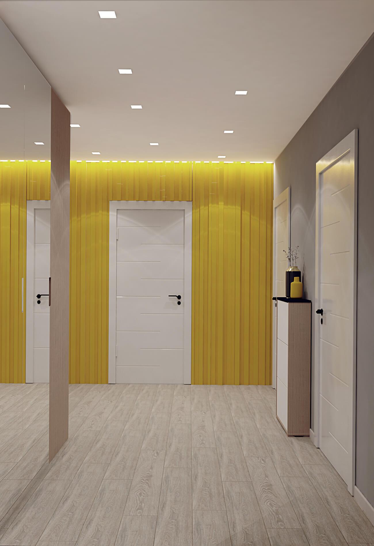 Визуализация коридора с желтым цветом на Демеевской, Киев, Profirem