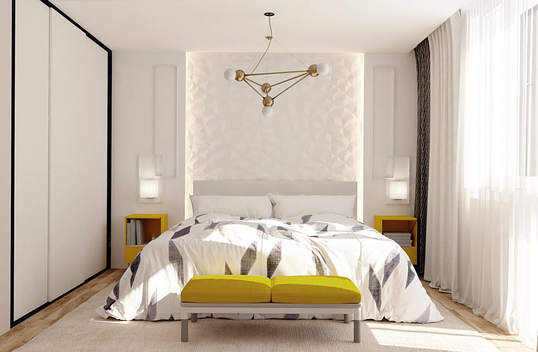 Визуализация спальной с добавлением желтого на Демеевской, Киев, Profirem