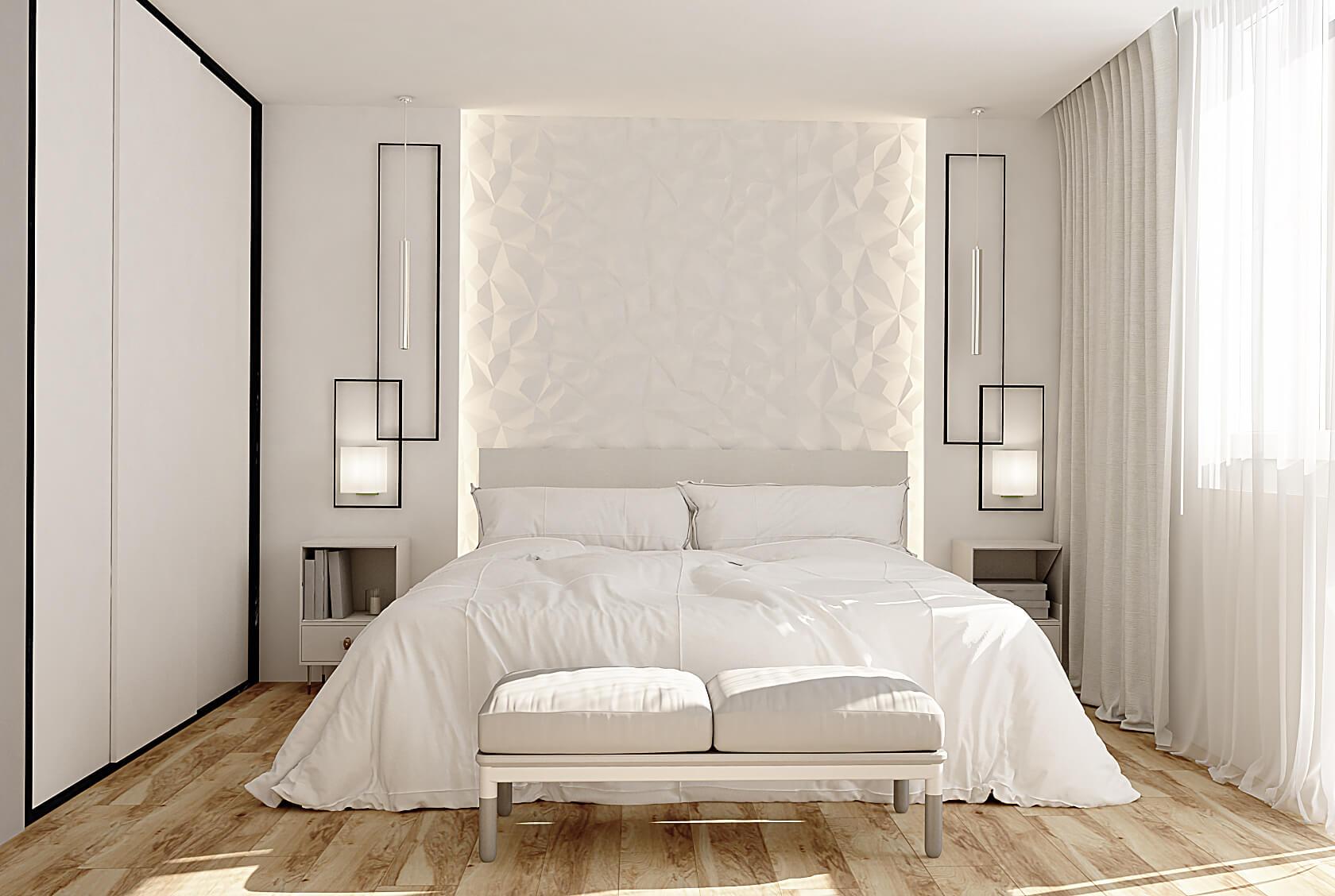 Визуализация спальной в белом цвете на Демеевской, Киев, Profirem