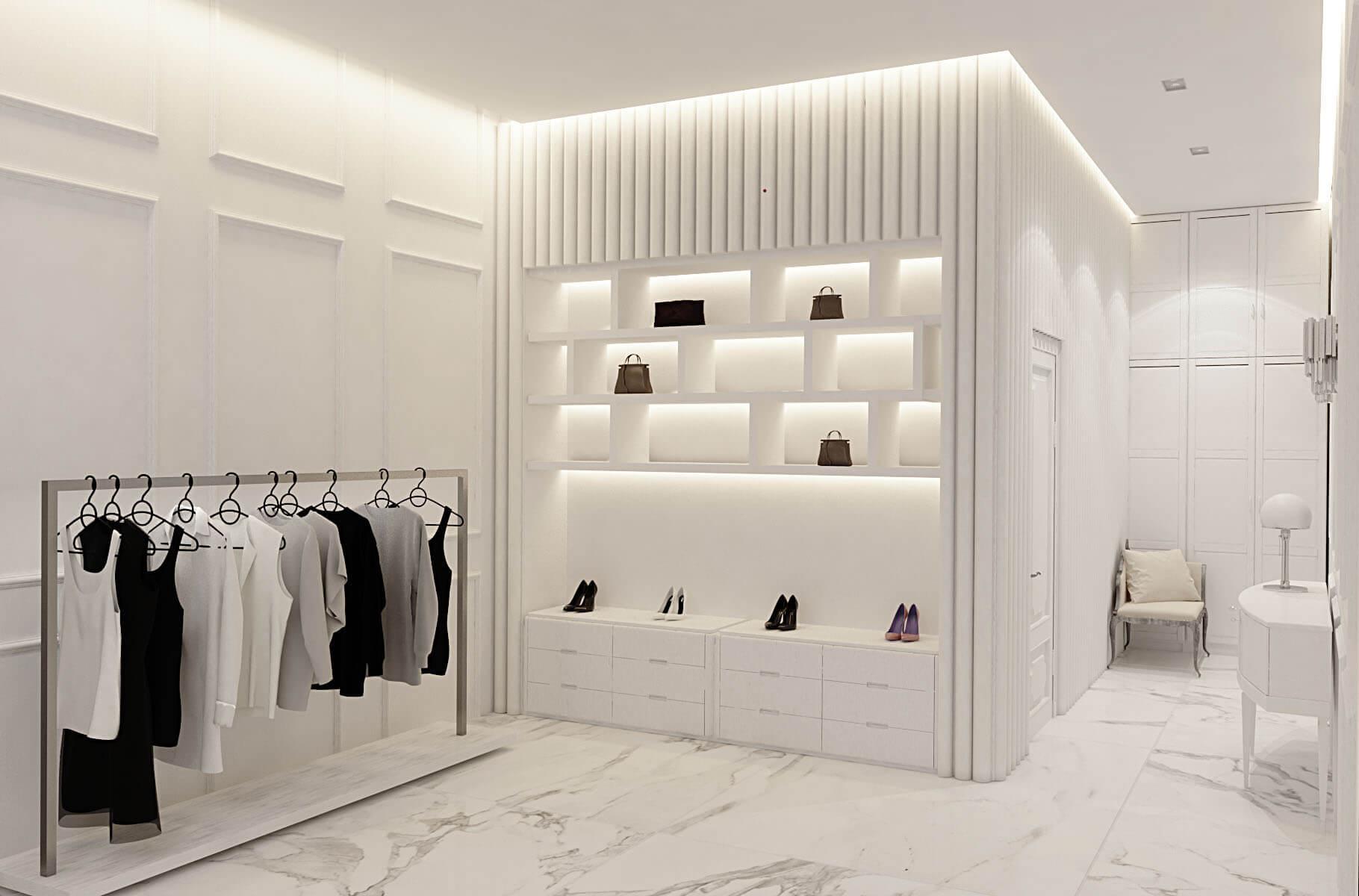 Элементы дизайна интерьера магазина одежды на Лютеранской